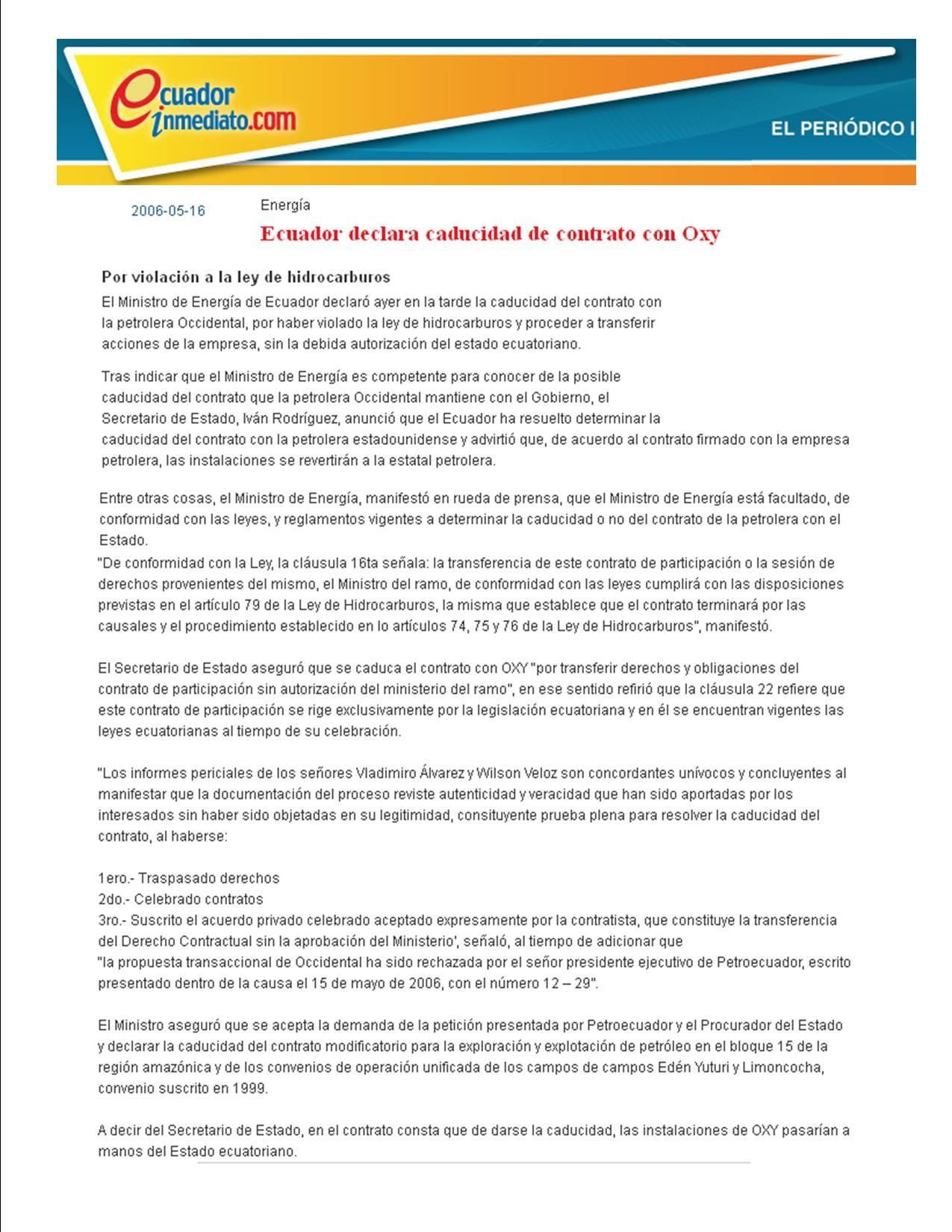 3-2006-05-16 Ecuadorinmediato