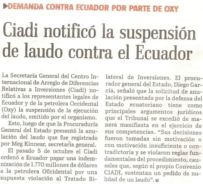 34-2012-10-17_EL_Telegrafo_Oxy_CIADI_notifico_la_suspensionde_laudo
