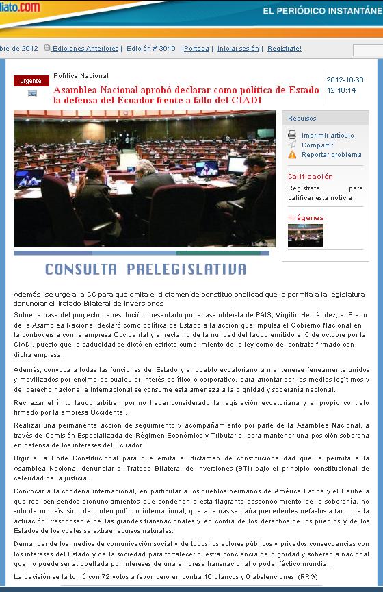 44-2012-10-30_Ecuadorinmediato _Asamblea_Nacional_declara_politica_de_estado_fallo_en_Caso_Oxy
