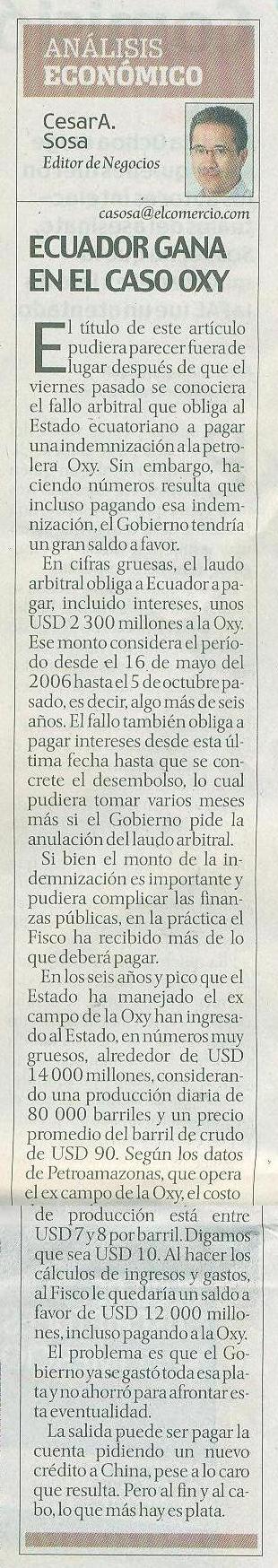 61-El Comercio, Ecuador gana en el caso Oxy, opinion 07 10
