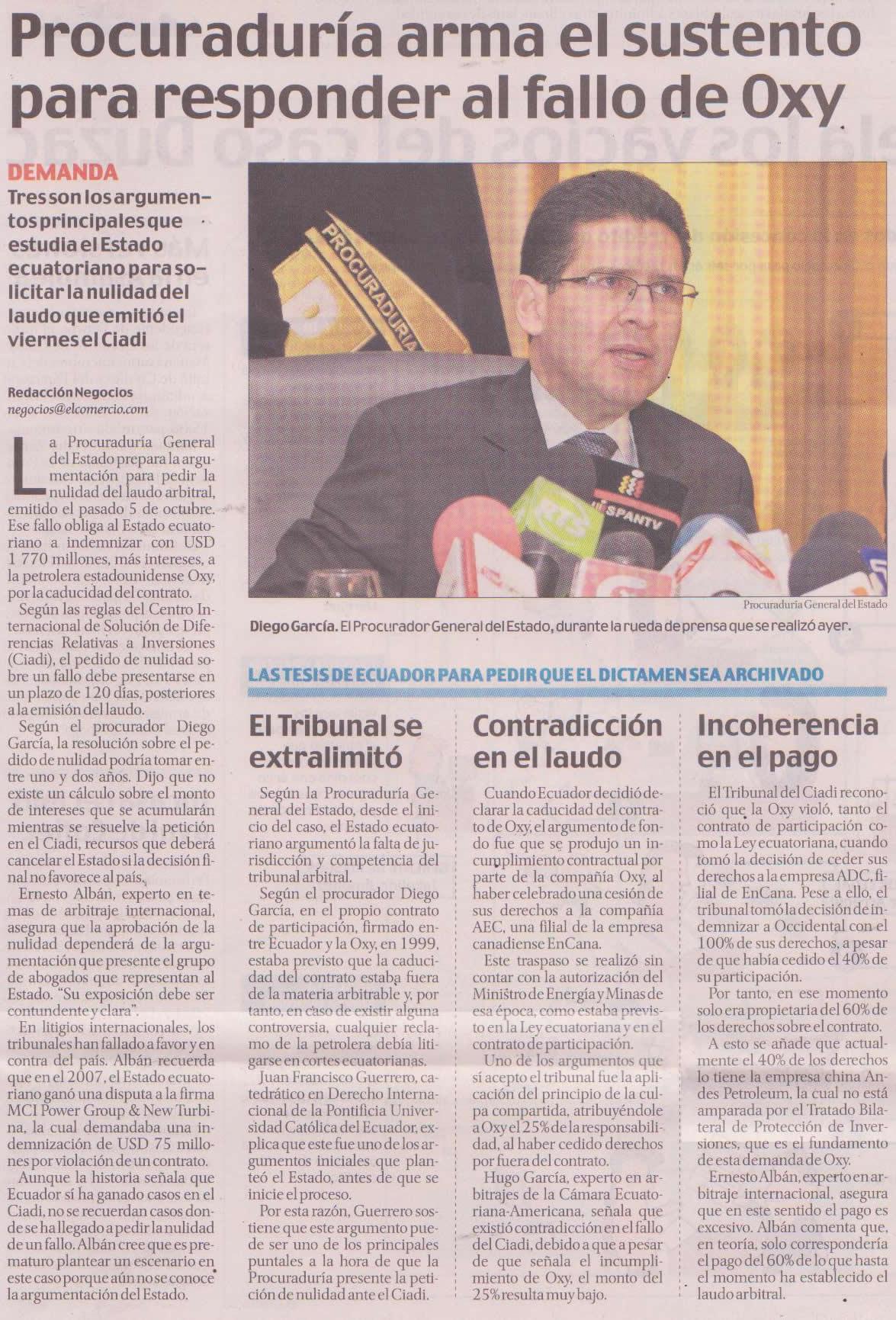 63-El Comercio, Procuraduria arma el sustento para responder al fallo de Oxy 09 10