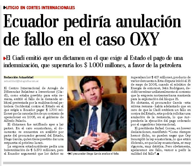 64-El Telegrafo, Ecuador pedira anulacion de fallo en caso Oxy 06 10