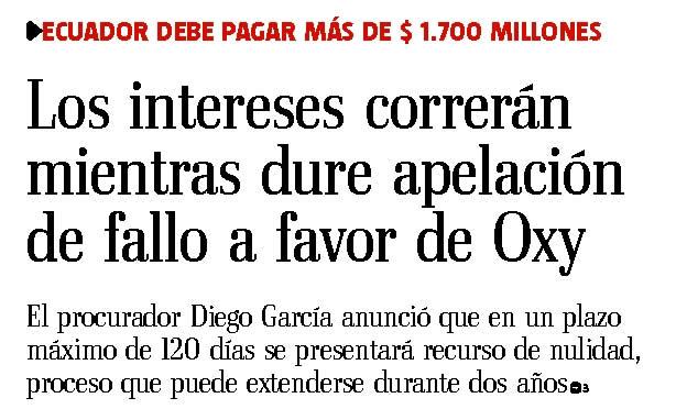 66-El Telegrafo, Los intereses correran mientras dure la apelacion 09 10