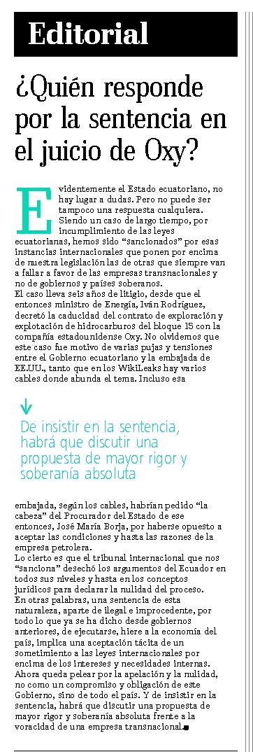 68-El Telegrafo, Quien responde por la sentencia en el juicio de Oxy 07 10