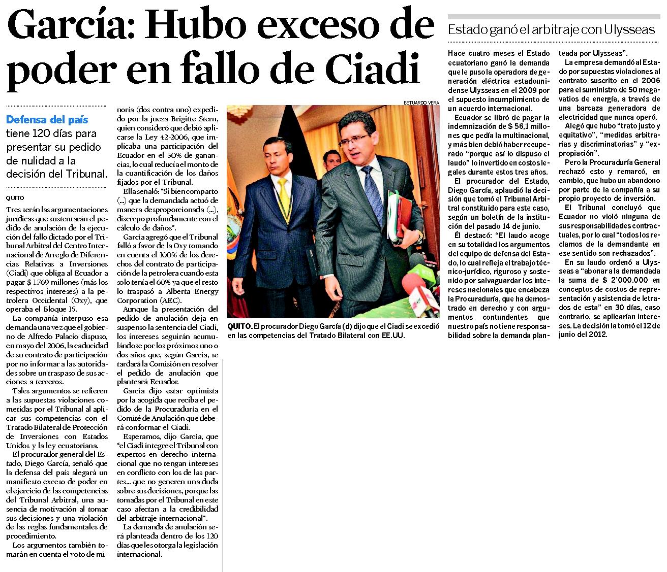 70-El Universo, Garcia, Hubo exceso de poder en fallo de CIADI 09 10