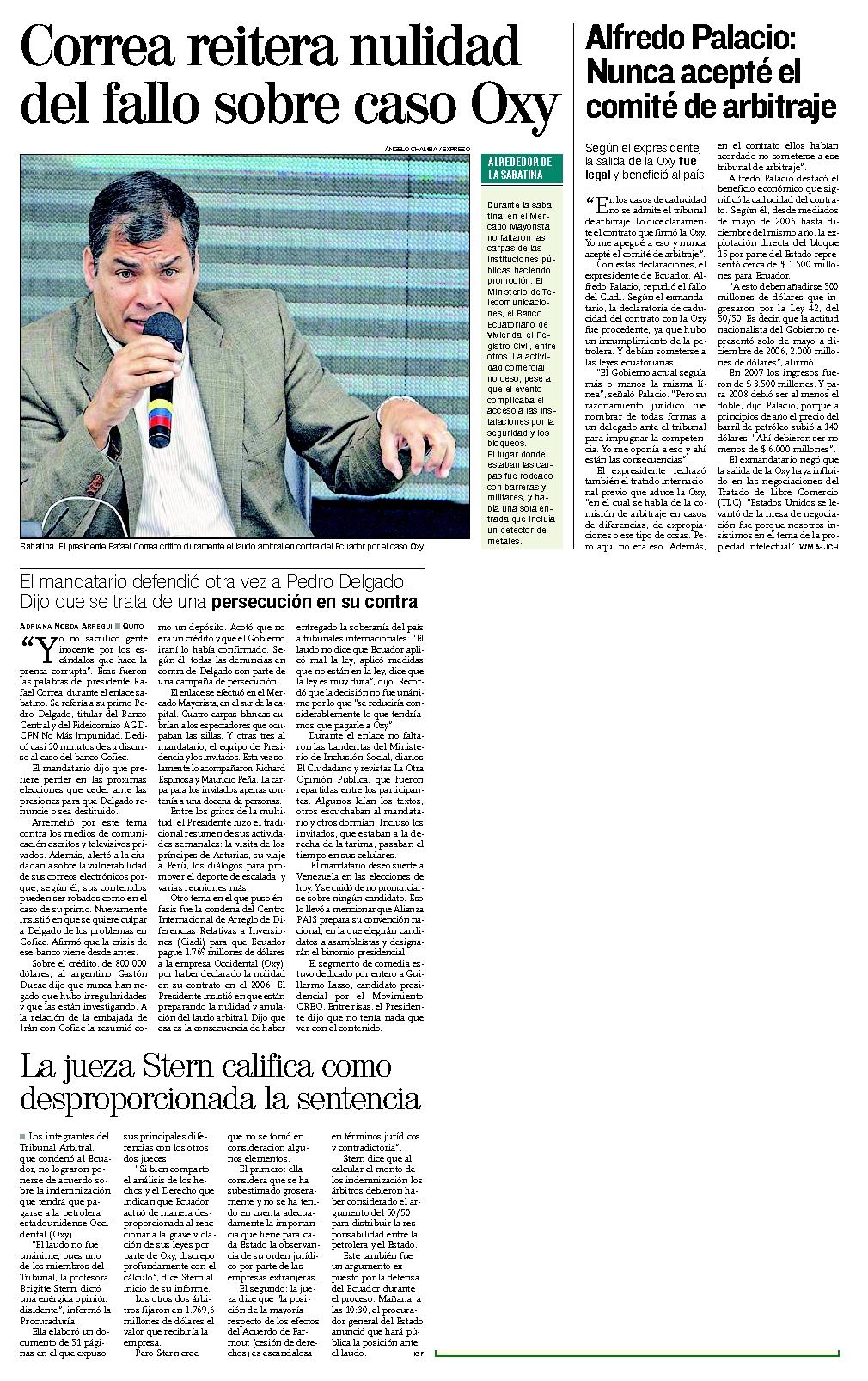 74-Expreso, Correa reitera nulidad del fallo sobre caso Oxy 07 10