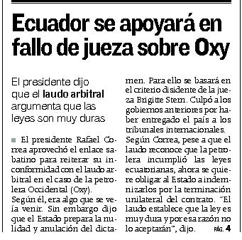 75-Expreso, Correa se apoyara en fallo de jueza sobre caso Oxy 07 10