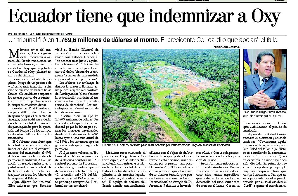 76-Expreso, Ecuador tiene que indemnizar a la Oxy 06 10