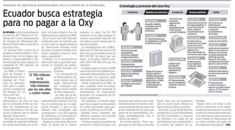 79-Hoy, Ecuador busca estrategia para no pagar a la Oxy 06 10