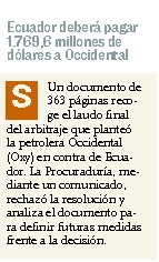 85-expreso, Ecuador debera pagar 1769 millonesen el caso Oxy 07 10