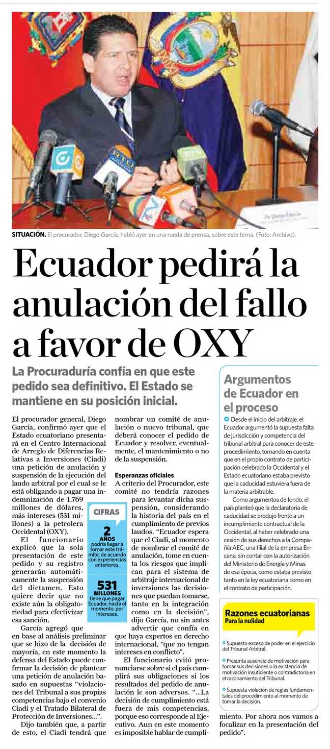 86-la Hora, Ecuador pedira la anulacion del fallo a favor de Oxy 09 10