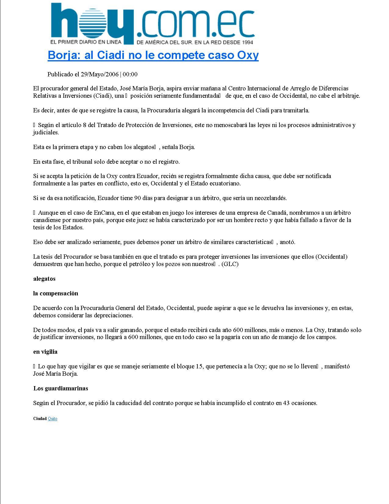 1-HOY 29-05-2006 borja-al-ciadi-no-le-compete-caso-oxy-