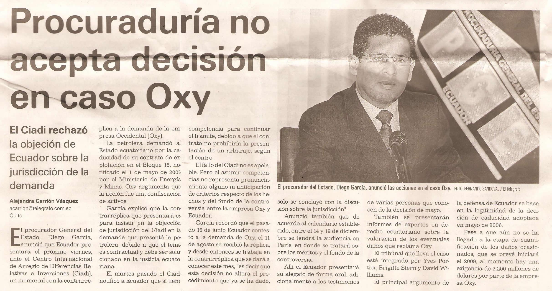 10-El Telegrafo-11-09-08Procuraduria no acepta decision en caso Oxy