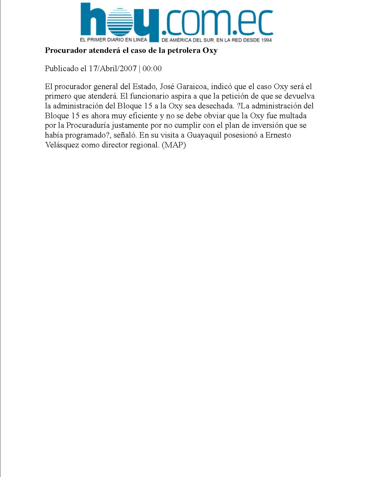 10-HOY 17-04-2007 Procurador atendera el caso de la petrolera Oxy