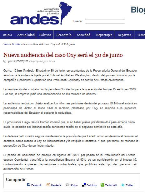 11-ANDES - NUEVA AUDIENCIA DEL CASO OXY SERA EL 30 DE JUNIO