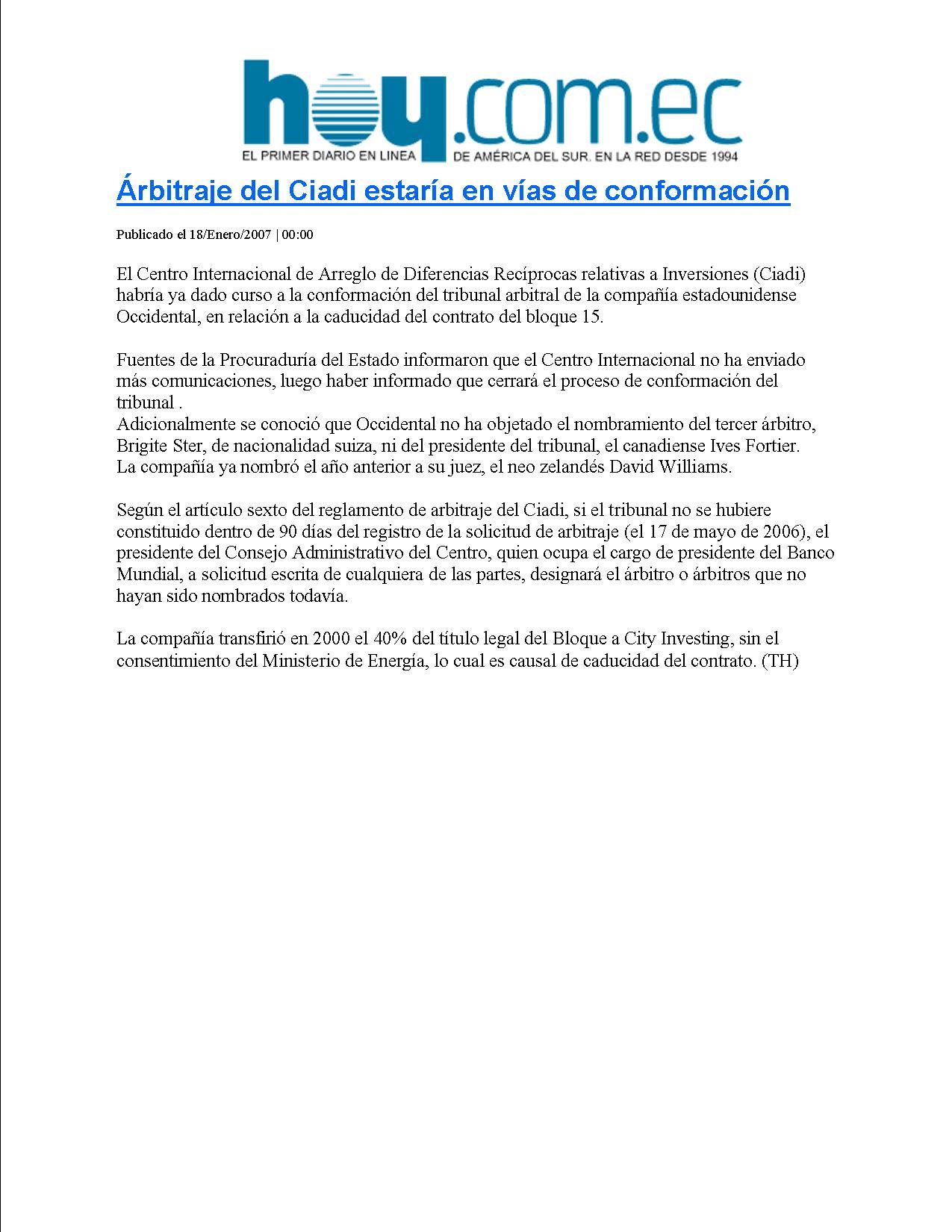 11-HOY 18-01-2007 arbitraje del Ciadi estaria en vias de conformacion