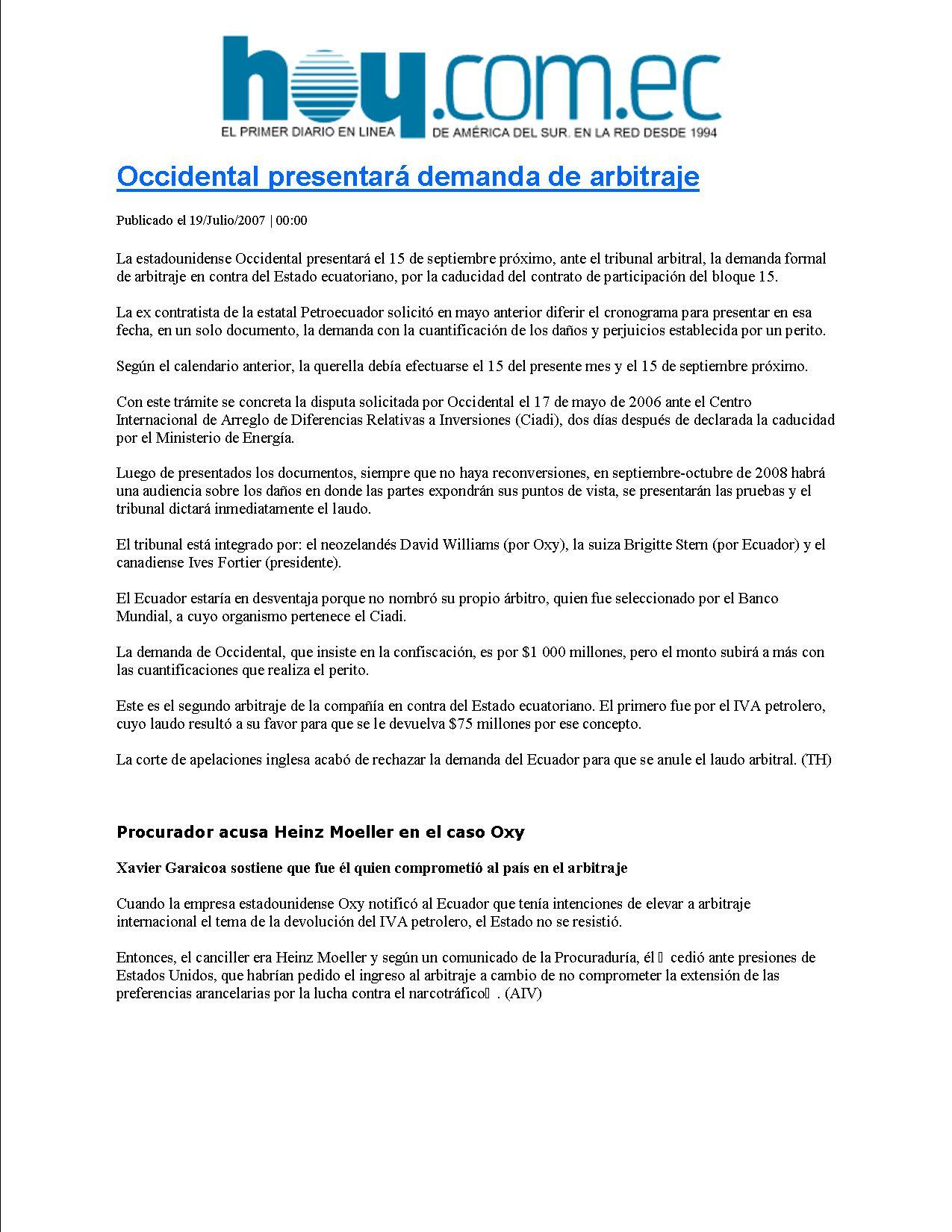 14-HOY 19-07-2007Occidental presentara demanda de arbitraje