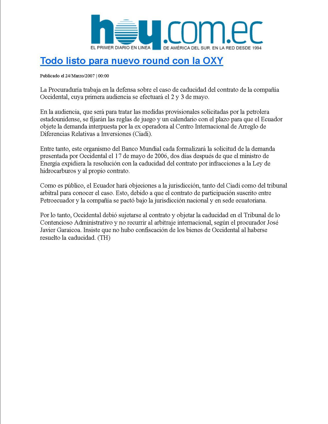 15-HOY 24-03-2007 Todo listo para nuevo round con la OXY