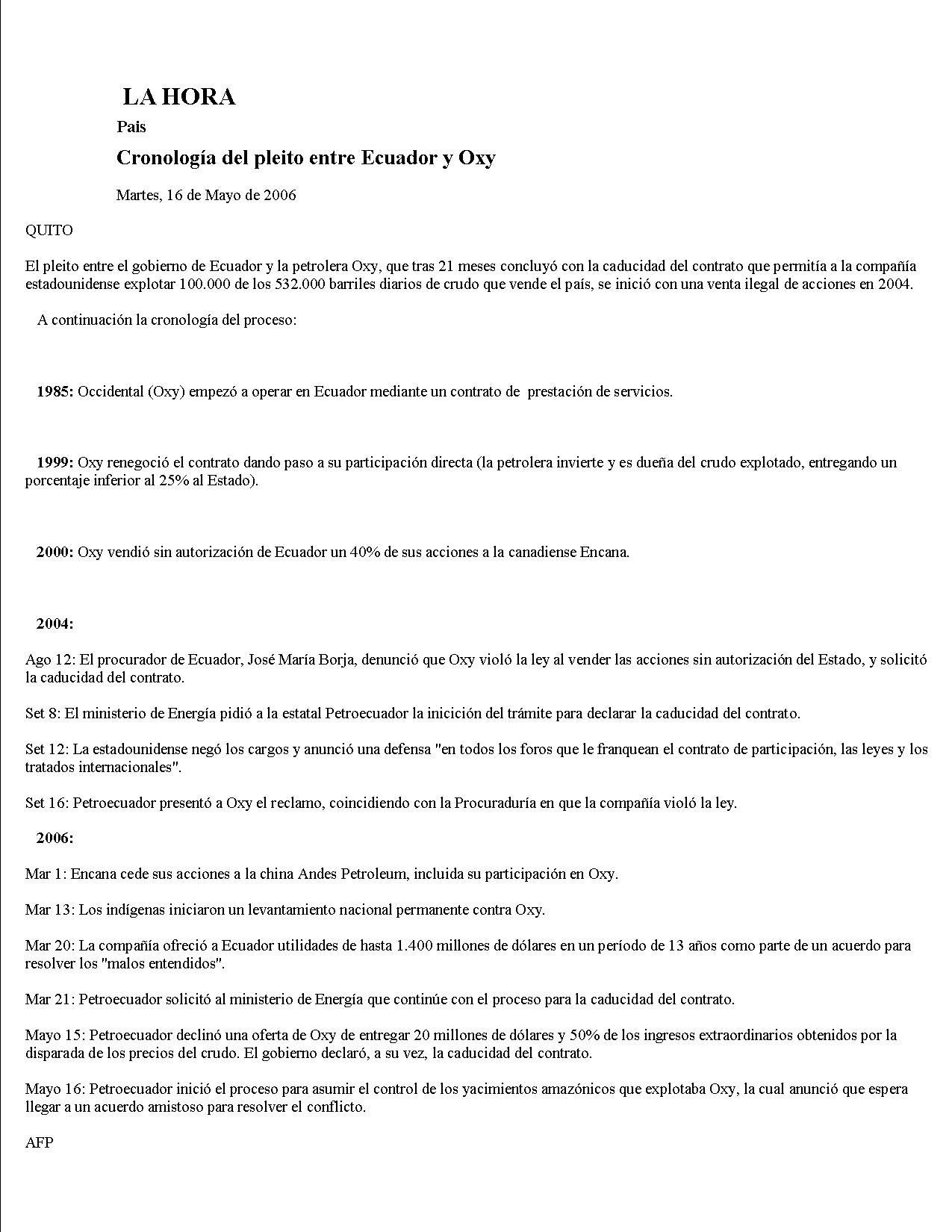 15-LA HORA 16-05-2006 Cronologia del pleito entre Ecuador y Oxy