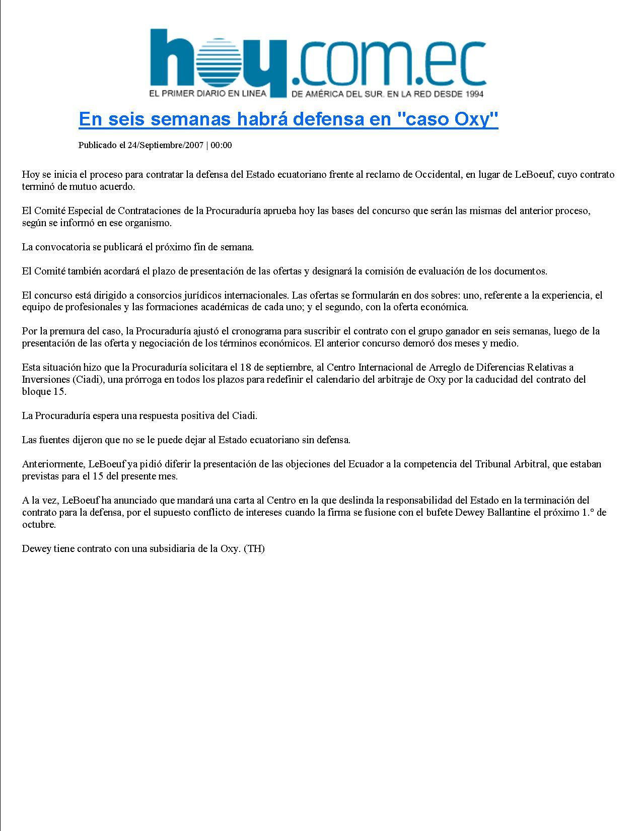 16-HOY 24-09-2007En seis semanas habra defensa en caso Oxy