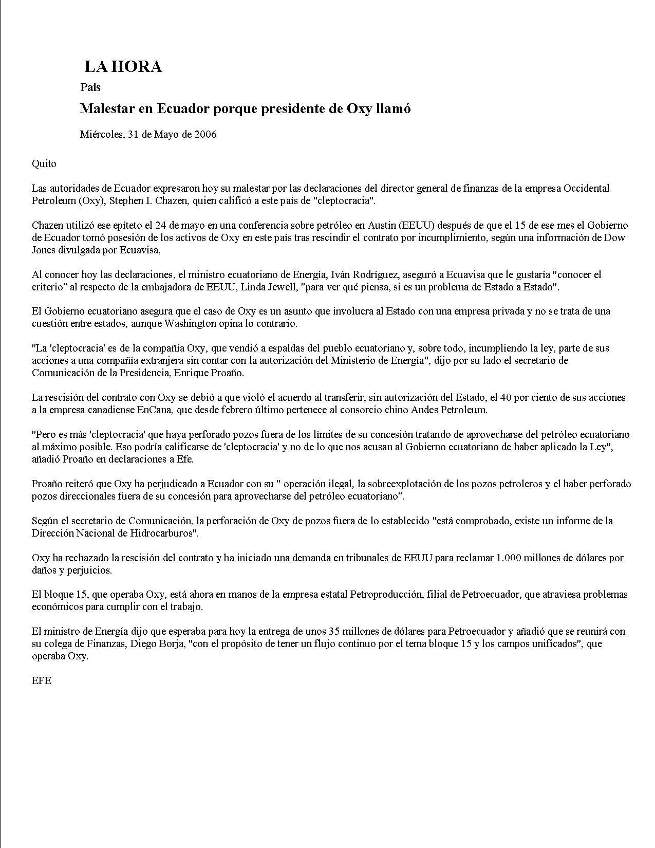 16-LA HORA 31-05-2006 Malestar en Ecuador porque presidente de Oxy llamo