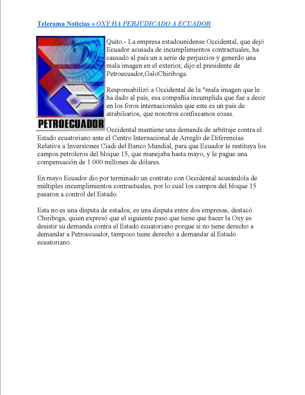 18-TELERAMA 4 -10-2006lOXY HA PERJUDICADO A ECUADOR