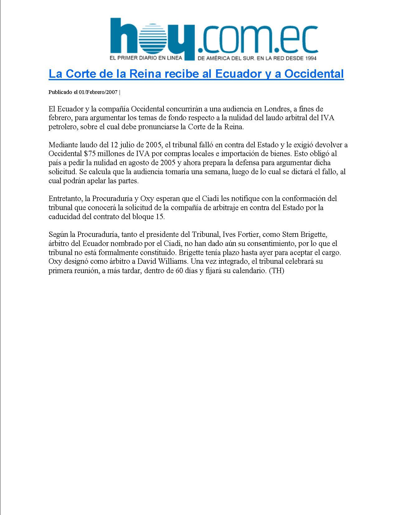 2-HOY 01-02-2007 La Corte de la Reina recibe al Ecuador y a Occidental
