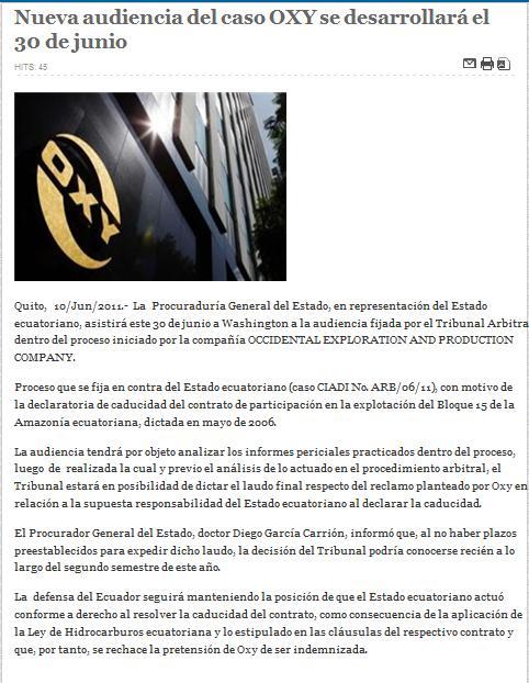 22-RTU - NUEVA AUDIENCIA DEL CASO OXY SE DESARROLLARA EL 30 DE JUNIO