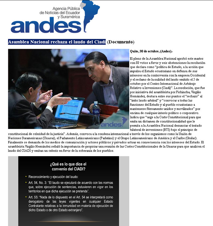 26-2012-10-31_Andes_Asamblea_Nacional_rechaza_el_laudo_del_Ciadi