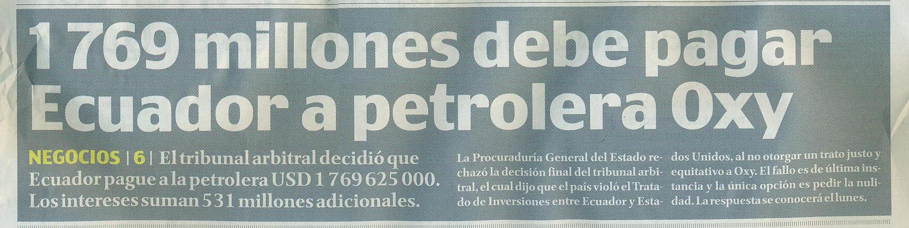 42-El Comercio, 1769 millones debe pagar Ecuador a Oxy 06 10
