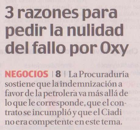 43-El Comercio, 3 razones para pedir la nulidad del fallo por Oxy 09 10