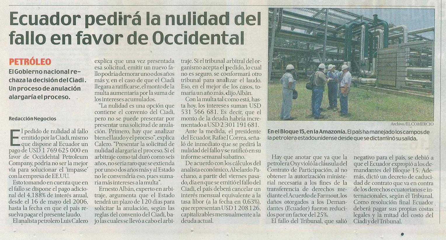 45-El Comercio, Ecuador pedira la nulidad del fallo en favor de Oxy 07 10