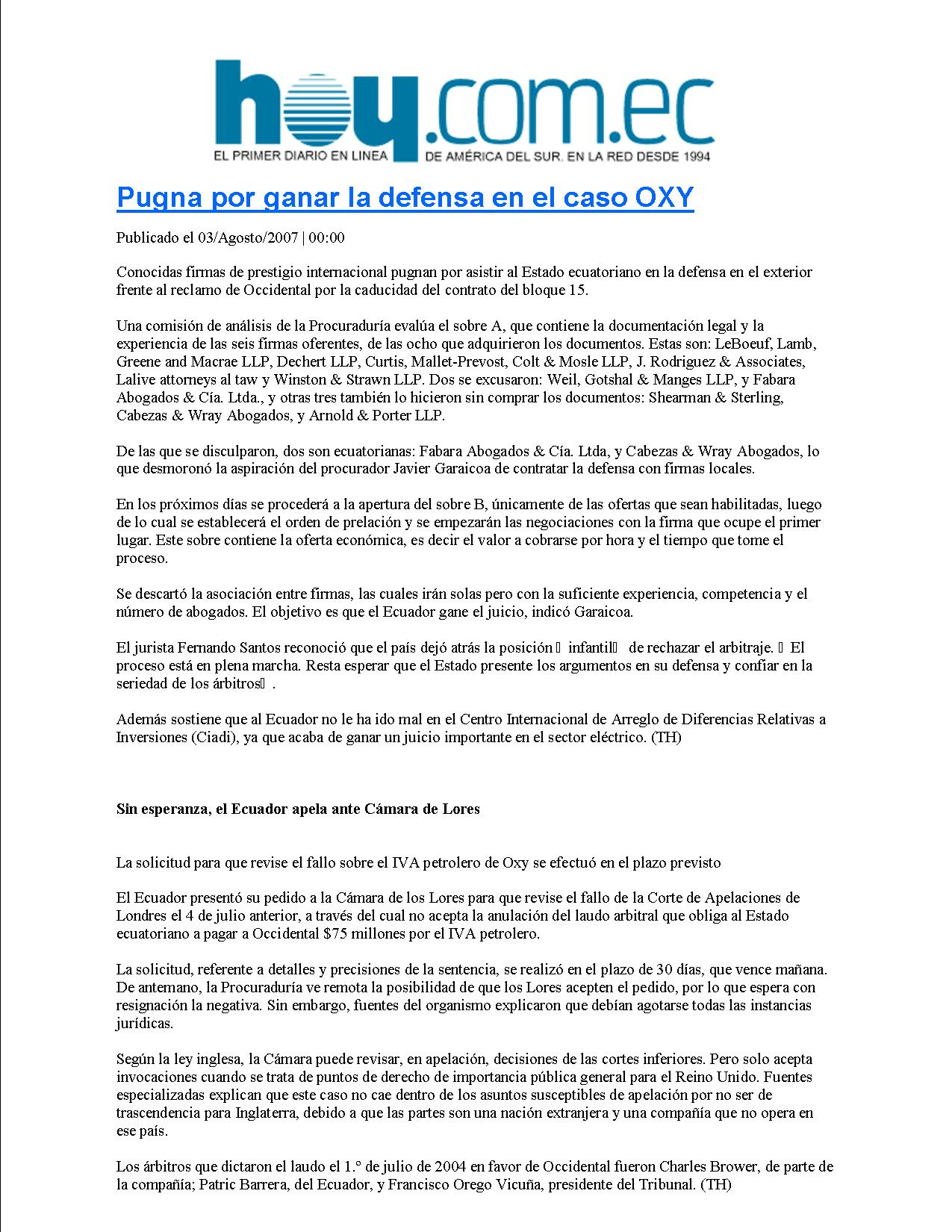 5-HOY 03-08-2007 Pugna por ganar la defensa en el caso OXY