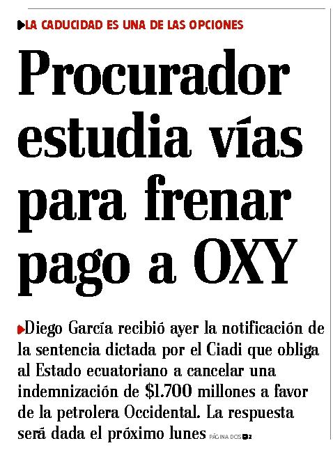 50-El Telegrafo, Procurador estudia vias para frenar pago a Oxy 06 10