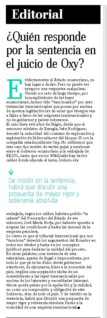 51-El Telegrafo, Quien responde por la sentencia en el juicio de Oxy 07 10