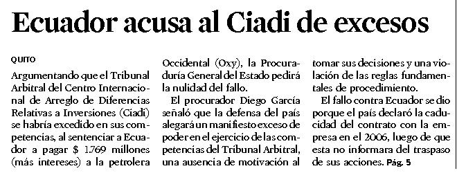 52-El Universo, Ecuador acusa a Ciadi de excesos 09 10