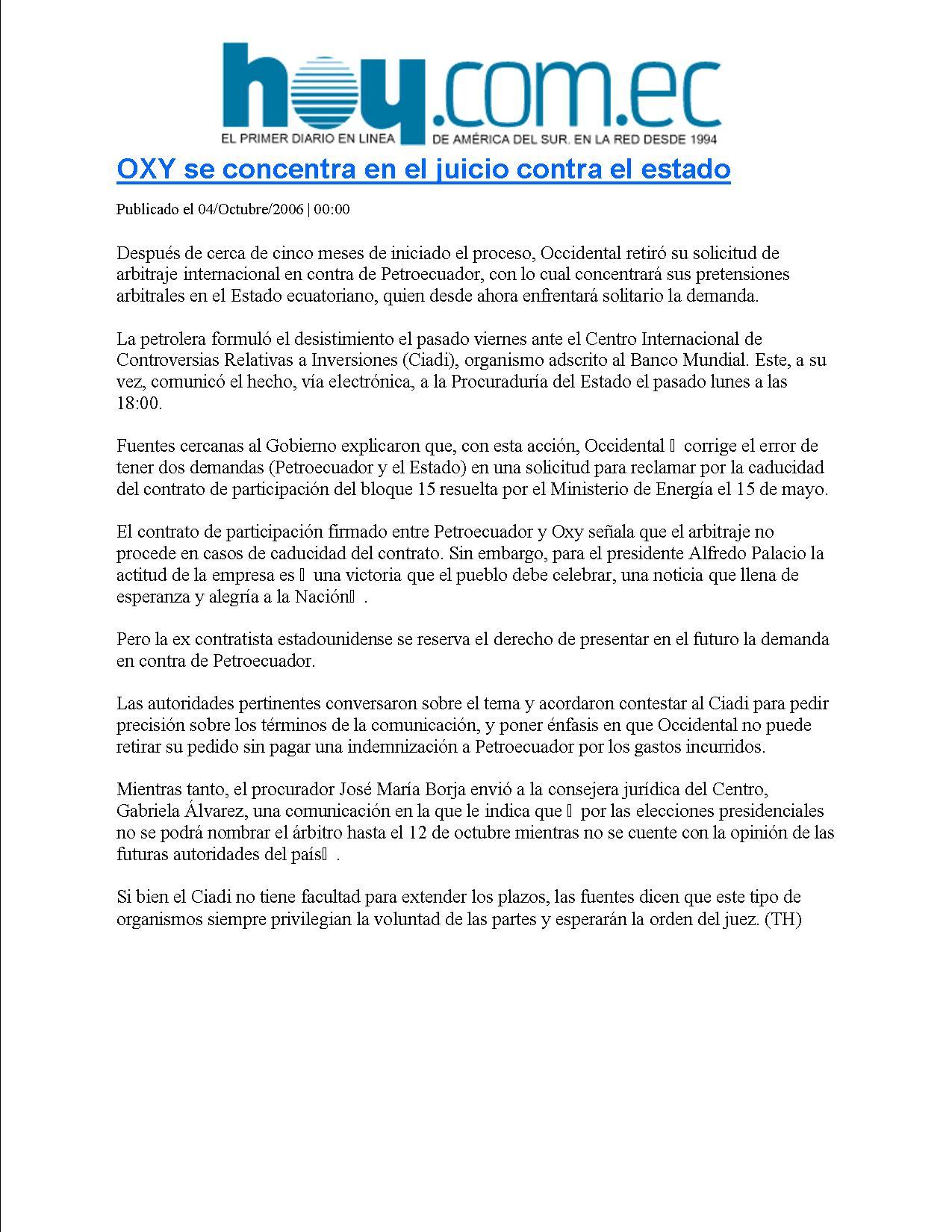 6-HOY 04-10-2006 OXY SE CONCENTRA EN EL JUICIO CONTRA EL ESTADO