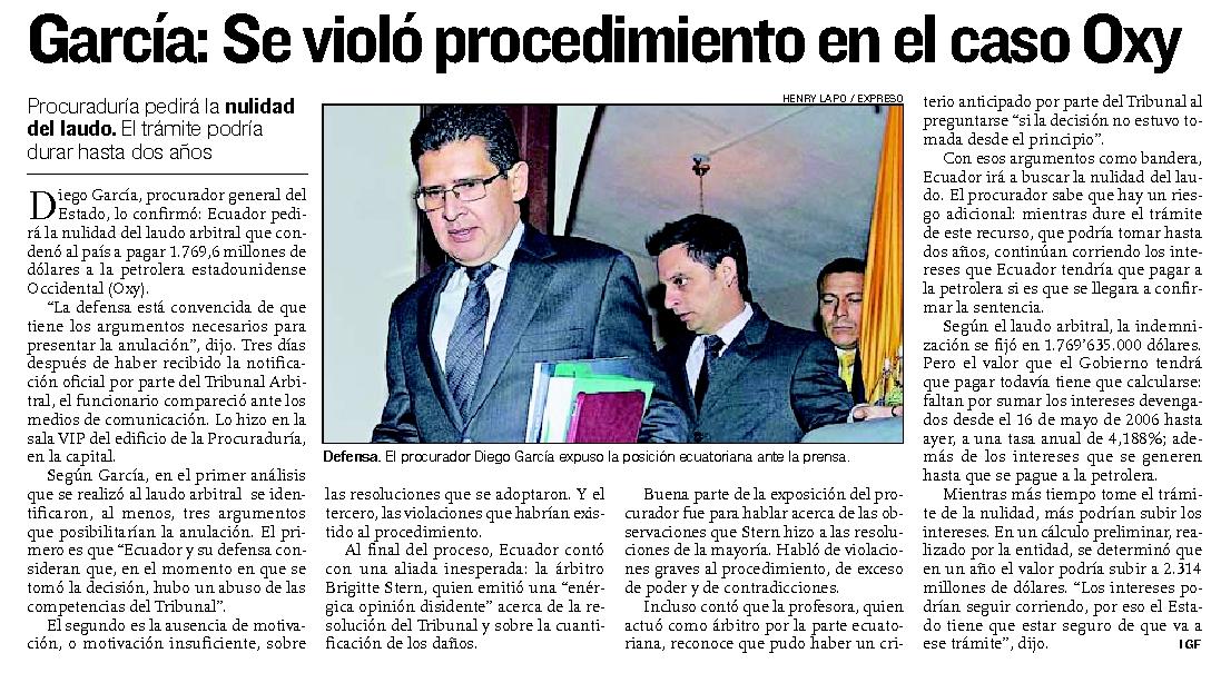 62-Expreso, Garcia, Se violo procedimiento en caso Oxy 09 10