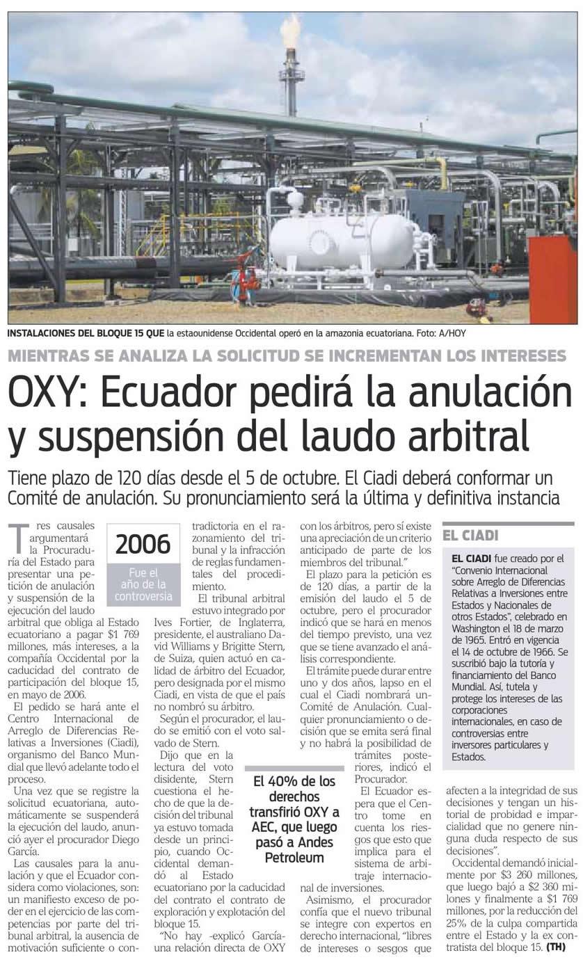 65-Hoy, Oxy, Ecuador pedira la anulacion y suspension del laudo arbitral 09 10