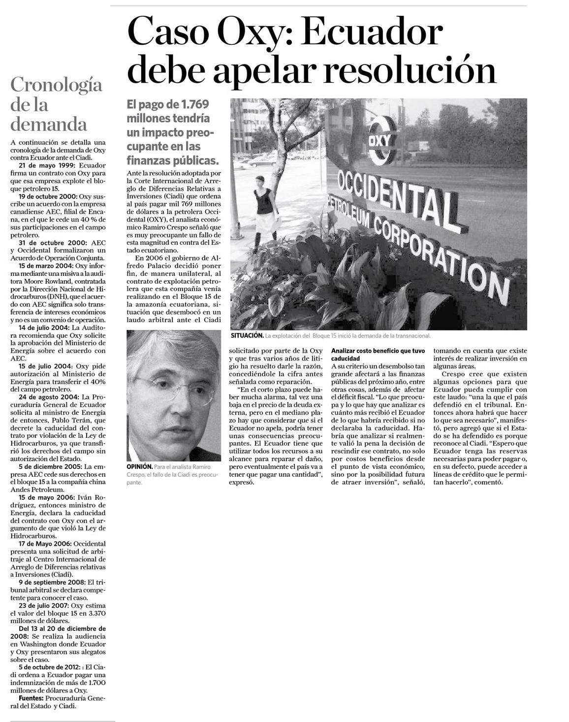 67-La Hora, Caso Oxy, Ecuador debe apelar resolucion 07 10
