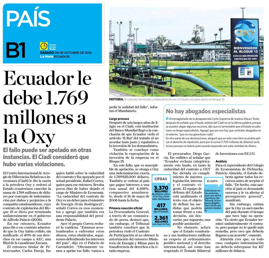 68-La Hora, Ecuador le debe 1769 millones a Oxy 06 10