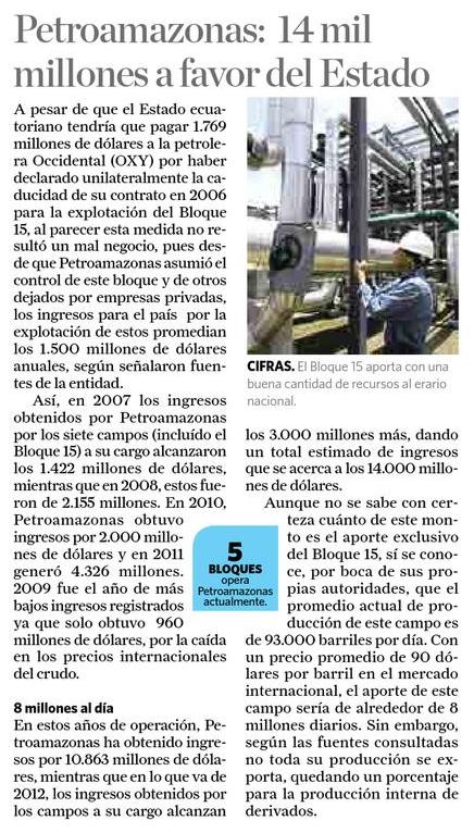 69-La Hora, Petroamazonas, 14 mil millones a favor del Estado 09 10