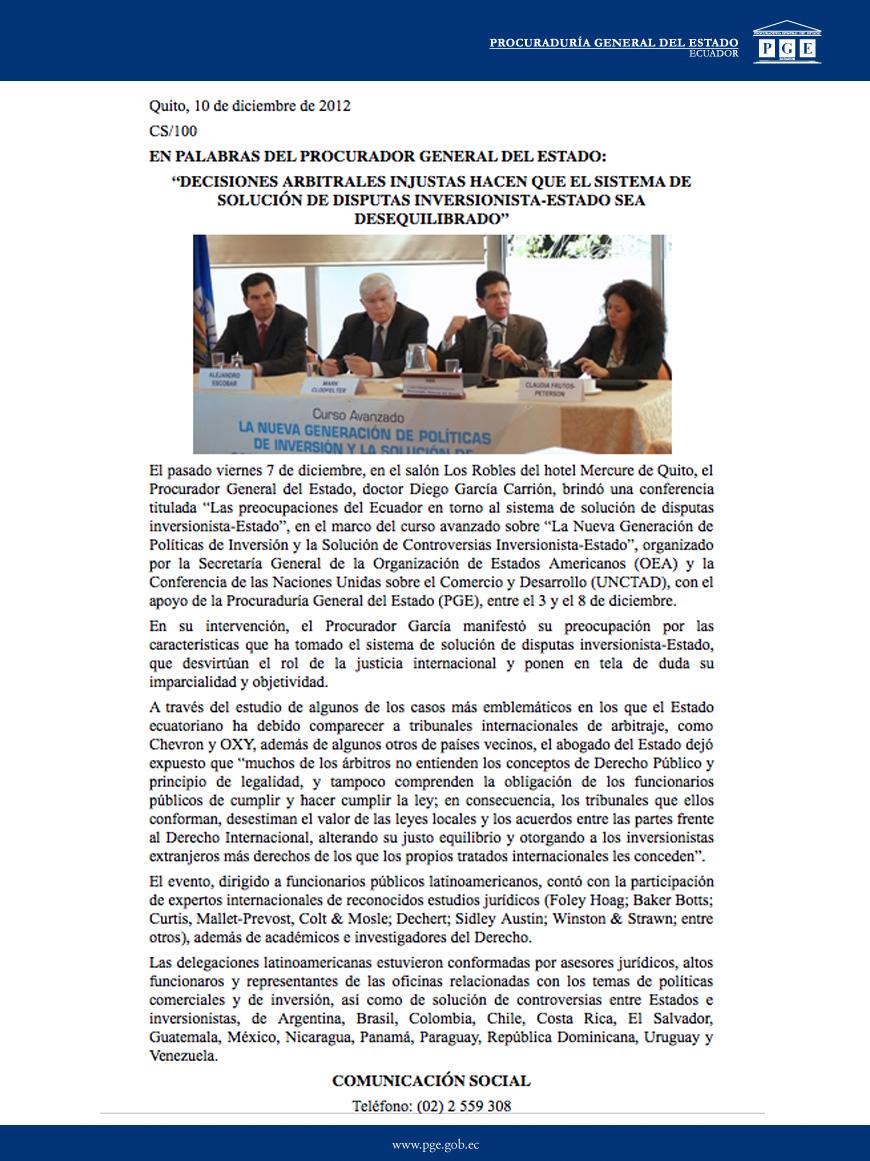 10-12-2012-DECISIONES ARBITRALES INJUSTAS HACEN QUE EL SISTEMA DE SOLUCIαN DE DISPUTAS INVERSIONISTA-ESTADO SEA DESEQUILIBRADO