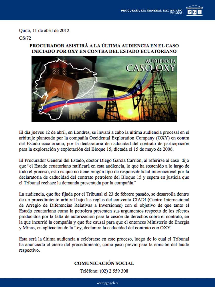 11-04-2012-PROCURADOR ASISTIRIA LA ULTIMA AUDIENCIA EN EL CASO INICIADO POR OXY EN CONTRA DEL ESTADO ECUATORIANO