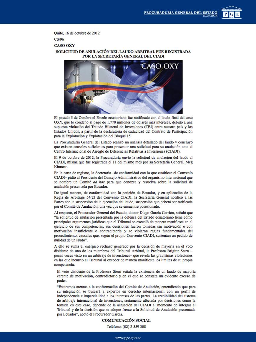 16-10-2012-SOLICITUD DE ANULACION DEL LAUDO ARBITRAL FUE REGISTRADA POR LA SECRETARIA GENERAL DEL CIADI