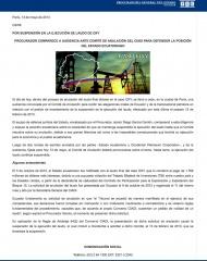 2013-05-13, Boletin, Por suspensión en la ejecución de Laudo Oxy