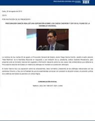 2013-08-20, Boletin, PROCURADOR GARCIA REALIZO UNA EXPOSICION SOBRE LOS CASOS CHEVRON Y OXY EN EL PLENO DE LA ASAMBLEA NACIONAL