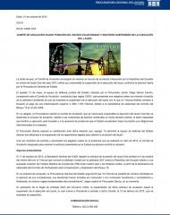 2013-10-01, Boletin, COMITE DE ANULACION ACOGE POSICION DEL ESTADO ECUATORIANO Y MANTIENE SUSPENSION DE LA EJECUCION DEL LAUDO